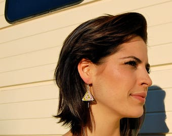 The Nico- Peyote Stitched Silver Ear Threaders