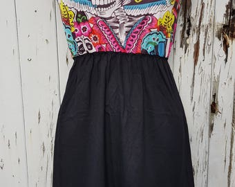 Mexican Skeleton Day of the Dead Black Skater Dress - Size 10 12 14 - Candy Skull