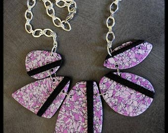 Polymer style Pink Purple stone necklace