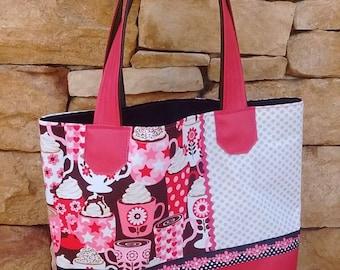 Tote bag raspberry gourmet patterns, cups, polka dots