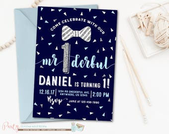 Mr. Onederful Birthday Invitation, Mr. Onederful Invitation, Little Man Invitation, Navy and Silver, Mr Wonderful, Bowties
