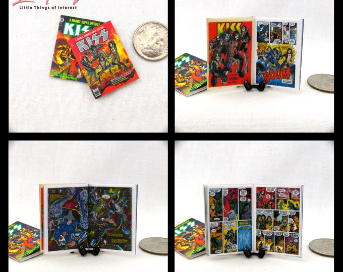 2 KISS COMIC Books Dollhouse Miniature Comic 1:12 Scale **2 FOR 1**