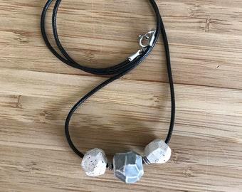 Handmade, Ceramic geometric bead necklace
