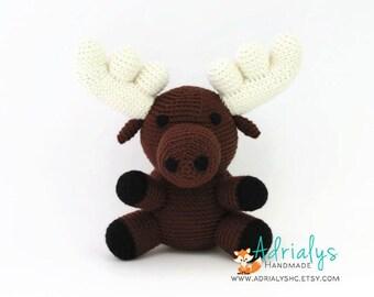 Crochet Moose, Moose Stuffed Animal, Moose Plush, Moose Amigurumi, Woodland Stuffed Animals, Crochet Toy - Made to Order