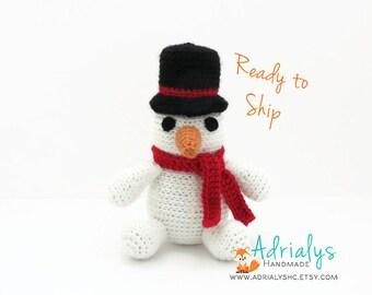 Crochet Snowman- Stuffed Snowman- Snowman Plush- Amigurumi Snowman- Handmade Snowman- Crochet Toy- Ready to Ship