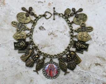 Bronze - Our Lady of Guadalupe - Chunky Catholic Charm Bracelet