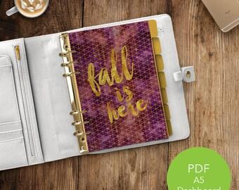 Fall Planner Dashboard | Fall Planner | Autumn Planner Dashboard| A5 Dashboard | Printable Planner | PDF Printable | Fall Planner Insert