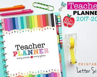 2017-2018 Teacher Planner, PDF Printable Pages, Inserts - August 2017-July 2018, Lesson Planner, Calendar, Teaching, Letter Size