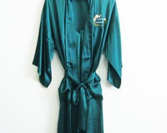 Perrier Jouet Green Silk Robe Nightgown Set Large - Champagne Womens Silk Set