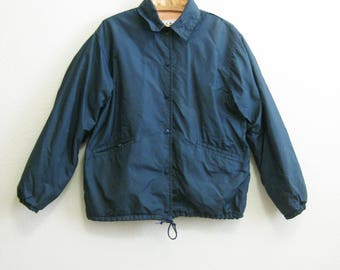 LL Bean Jacket Lined Large - Blue Nylon Windbreaker