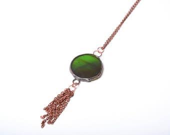 boho tassel necklace, statement glass pendant, gift idea for women, large pendant, summer jewelry, oxidized copper necklace