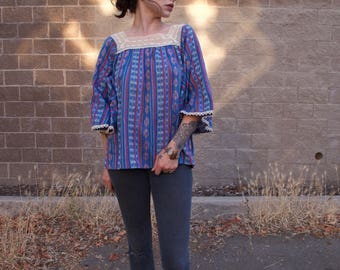 Vintage Wrangler Boho Tunic Top Angel Sleeve Crochet woven Mexican south western 70's Large Blue