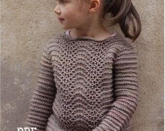 """Knitting Pattern """"Manon"""" pullover (sizes: 2 to 14 yo)"""
