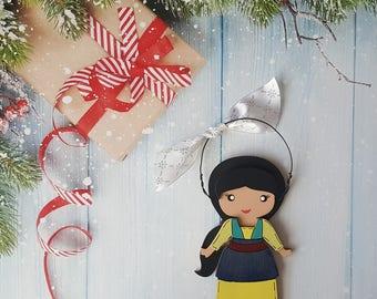 Disney Christmas Ornament, Mulan Princess, Elsa, Anna, Cinderella, Rapunzel, Jasmine, Snow White, Belle, Aurora, Moana, Tiana, Merida,Sophia