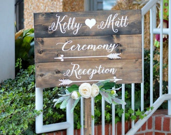 Wedding Directional Signs, Wood Wedding Signs With Stake, Rustic Wedding Direction Signs, Personalized Boho Wedding Decor, Reception Sign