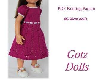 PDF Knitting pattern BELLA DRESS Fits 19 inch Gotz dolls