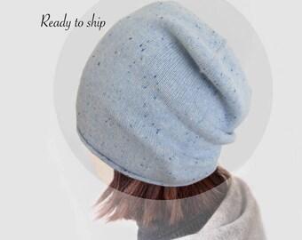 Pure cashmere women slouchy Hat / Cashmere hat / Women hat / Beanie hat / Slouchy Hat / Blue