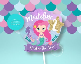 Mermaid Centerpiece. Mermaid Cake Topper. Mermaid Printables.