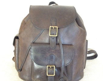Genuine vintage BREE Hand Made leather backpack rucksack front flap drawstring