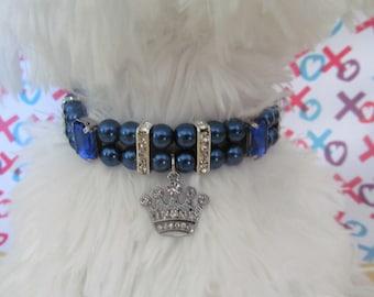 Dog/Cat Navy & Blue Prince Collar Style Necklace, Dog Pearl Collar Necklace, Cat Pearl Collar Necklace,  Pet Rhinestone Collar, Dog/Cat Gift