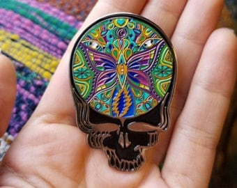 Grateful Dead Butterfly Steal Your Face Mandala Visionary Art Lapel Pin