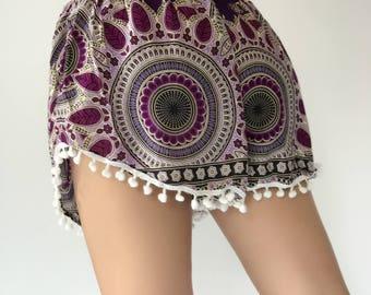 PP0088 Pom pom Shorts Elephant Print Beach Summer Hippies Boho Fashion Chic Clothing Aztec Ethnic Bohemian Ikat Boxers Short Pants Unique