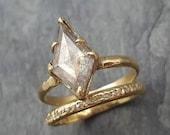 Fancy cut salt and pepper Diamond Solitaire Engagement 18k yellow Gold Wedding Ring Diamond Ring byAngeline 0998