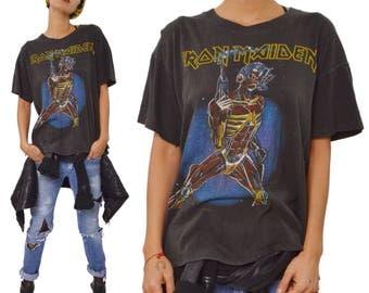 Vintage 80s Iron Maiden Somewhere On Tour Heavy Metal T Shirt Sz L