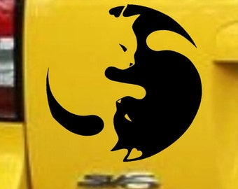 """Cat sticker 8""""x8"""" yin and yang vinyl stickers decals car sticker cat lover"""