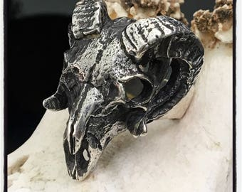 Sterling Silver Ram Skull Ring Silver Antlers Ring Silver Ram Ring Moose Skull Ring Moose Ring Silver Ram Antlers Ring Ram Biker Badass Ring