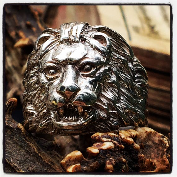 Etherial Jewelry - Rock Chic Talisman Luxury Biker Custom Handmade Artisan Pure Sterling Silver .925  Handcrafted Badass Designer Lion Ring