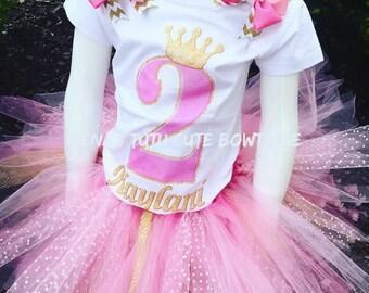 Princess Pink and Gold Crown Tutu Set