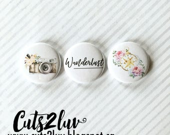 """3 buttons 1 """"Wanderlust"""