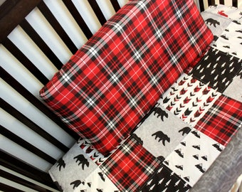 Lumberjack Baby Quilt & Fitted Sheet, Baby Boy Crib Set, Red Black Grey Crib Bedding, Boy Bedding, Woodland Bed Set, Bear Theme Nursery