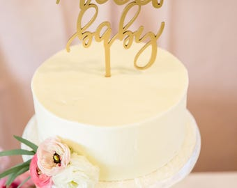 """Hello Baby Cake Topper, 6"""" inches, Custom Cake Topper, Baby Shower Topper, Birthday Cake Topper, Laser Cut by Ngo Creations"""