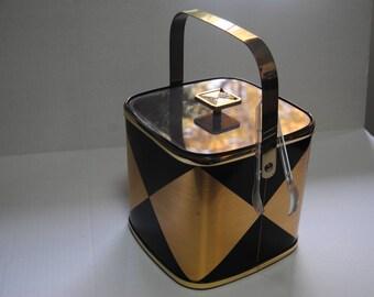Vintage Retro Ice Bucket/Black and Gold/Culver/Barware