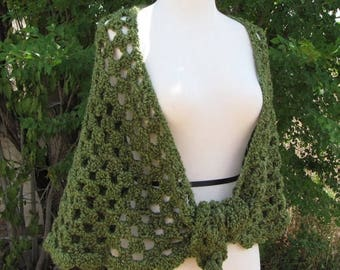SALE 25% off Olive Green Crochet Shawl, Scallop Edge Feminine Wrap, Hand Made Green Lace Shawl, Forest Nymph Shawl Lacy Olive Green Shawl La