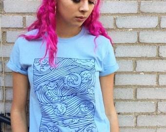 Emotions - In blue - waves t-shirt - lovestruck Prints - sea storm - ocean t-shirt