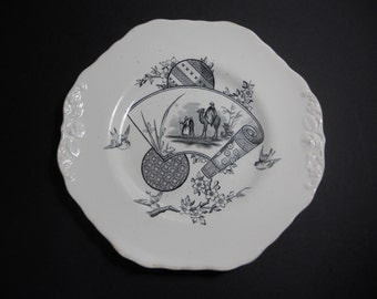 Antique Aesthetic Black Transferware Plate