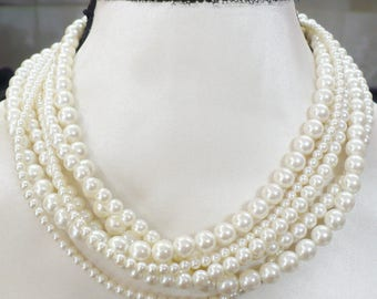 Vintage Multi Layer/Size Ivory Pearl Choker Necklace - WEDDING - Bridal choker - Bridesmaid gift - 6 strand mixed faux pearl - gold tone