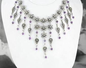 Vintage Sterling Silver and Amethyst Chandelier Necklace, Bridal Necklace, Bohemian Jewelry 3CHVVW-N