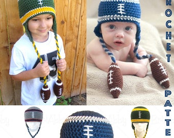 Crochet Football Beanie PATTERN (PDF FILE)