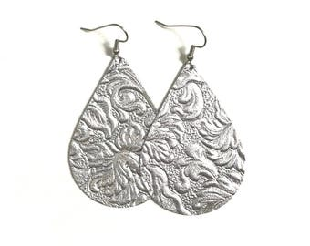 Large Leather Tear Drop Earrings; Silver Textured Leather; Lightweight; Statement Earrings