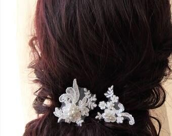 Bridal hair pins, Bridesmaid Hair pins, Pearl  Lace hair pins , Wedding hair piece ,  Bridal headpiece ,  Bridal hair accessories, UK