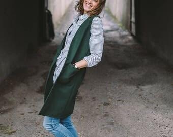 Vest, Wool vest, Emerald vest, Long vest, Vest with pockets, Casual vest, Comfortable vest