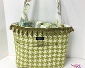 Green and White Houndstooth BAGOLITA | Large Tote