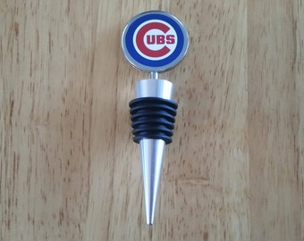 Chicago Cubs Wine Stopper Chrome Topper Sealed Washable Liquor Bottle Silver Personalized Customized Custom Booze Cork Gifts Bar Bottles