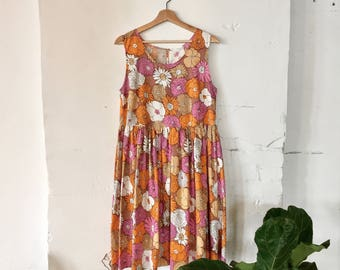 Prairie Ruffle Dress - vintage cotton size M