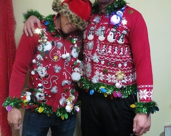 Snowmen Rumble Matched set  tacky Ugly Christmas Vest Sweaters Couples Size XLarge & Small, Couples Cardigan Set, 2 sweaters, Fun