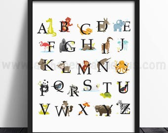Alphabet Poster - Alphabet Wall Art - Nursery Wall Art - Animal Alphabet Poster - Playroom Wall Art, Alphabet Nursery Art, Wall Art, 22-0018